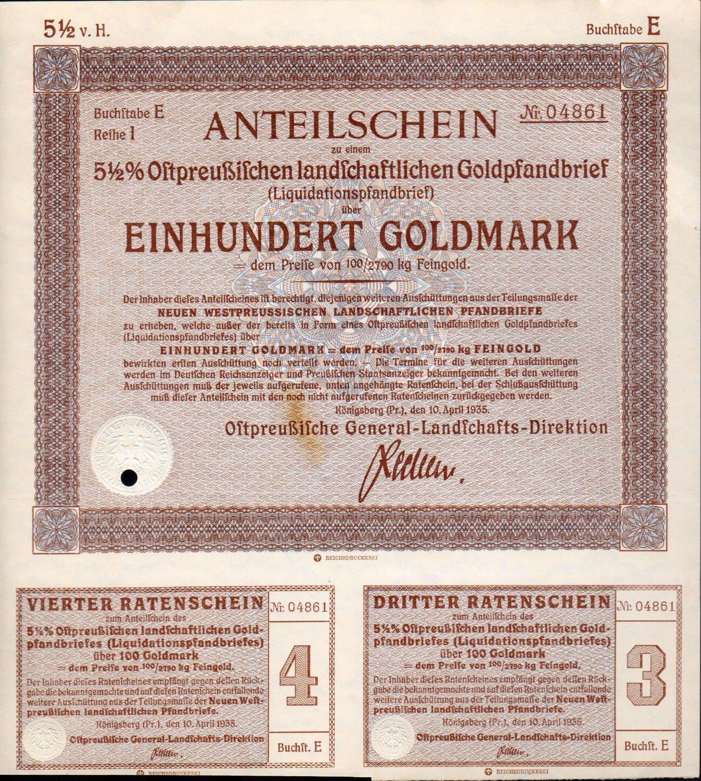 Podílový list s kupóny, Königsberg/1935/, 100 Goldmark, 5 1/2%
