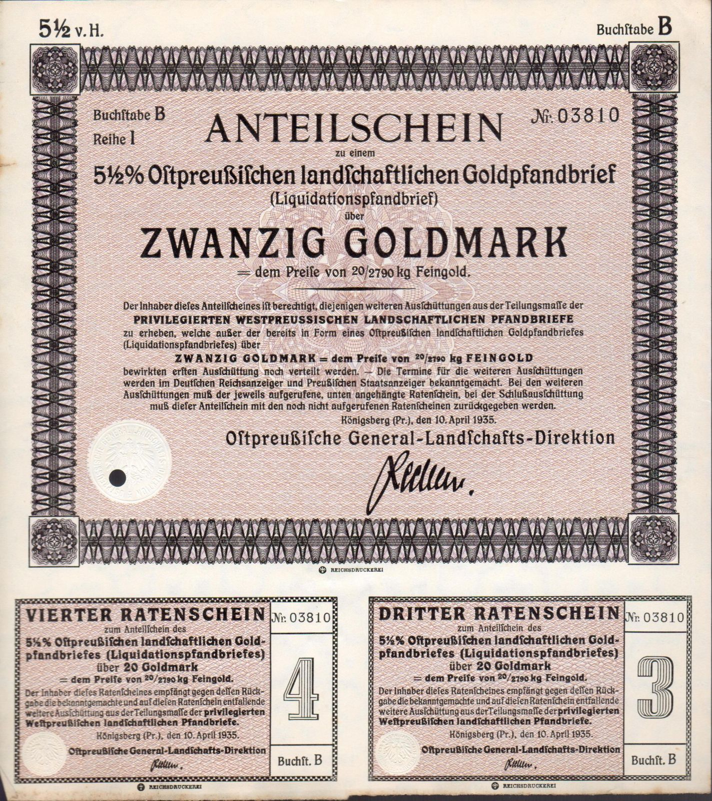 Podílový list s kupóny, Königsberg/1935/, 20 Goldmark, 5 1/2%