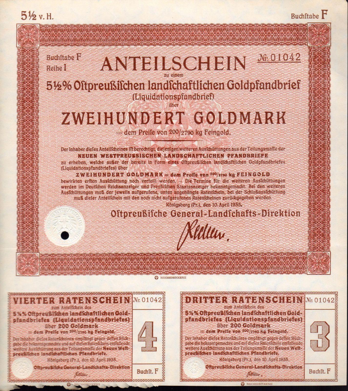 Podílový list s kupóny, Königsberg/1935/, 200 Goldmark, 5 1/2%