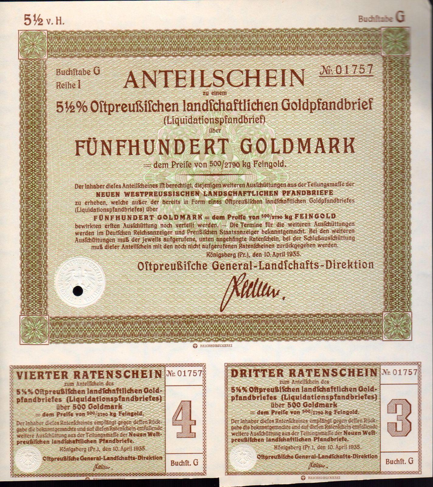 Podílový list s kupóny, Königsberg/1935/, 500 Goldmark, 5 1/2%