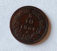 Rakousko 5/10 1864 A stav!