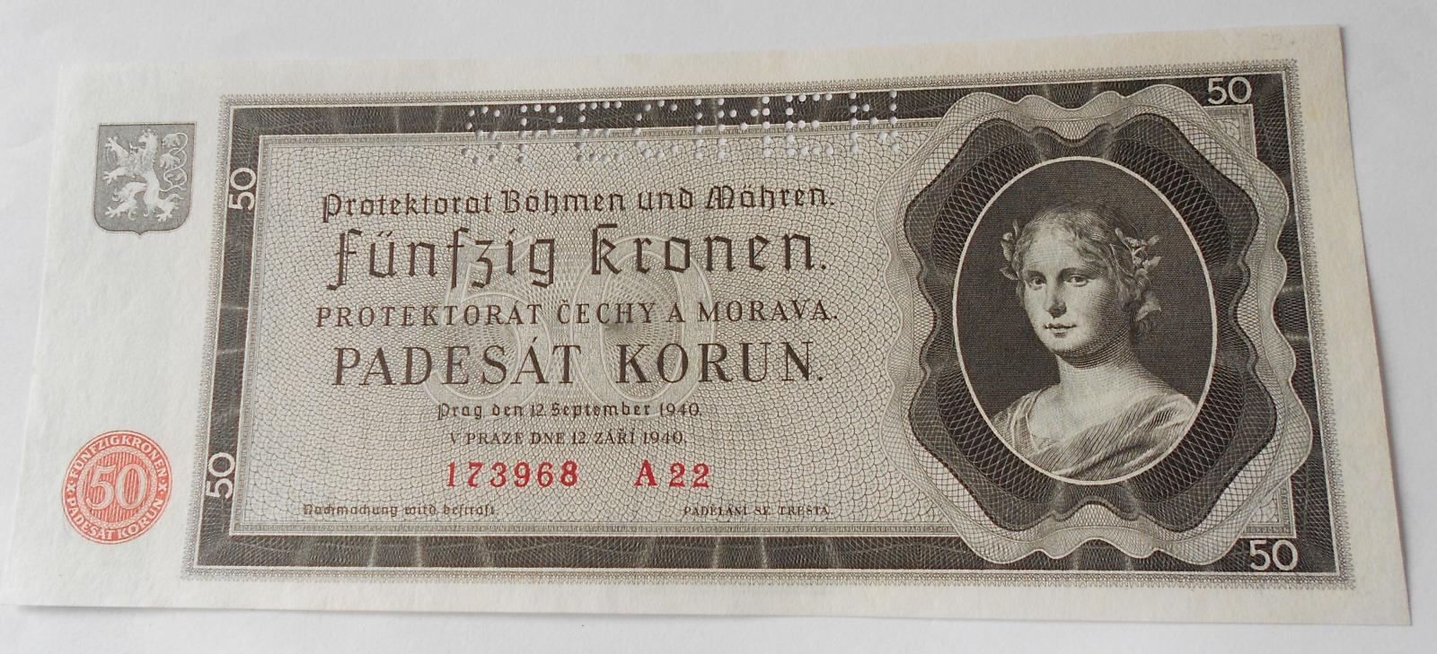 50 Koruna 1940, A 22 perf.
