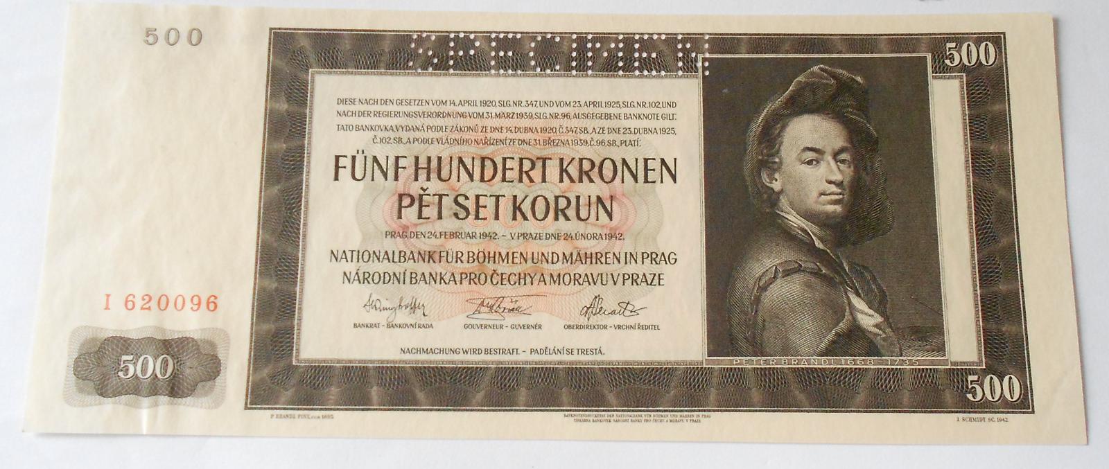 500 Koruna 1942, I perf.