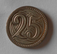 ČSR 25 Haléř 1932 novoražba