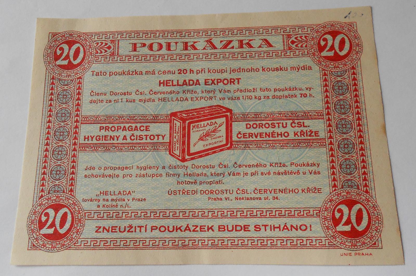 ČSR pouzkázka 20 Hal, Hellada Export