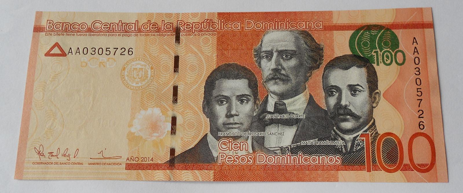 Dominikánská republika 100 Pesos 2014