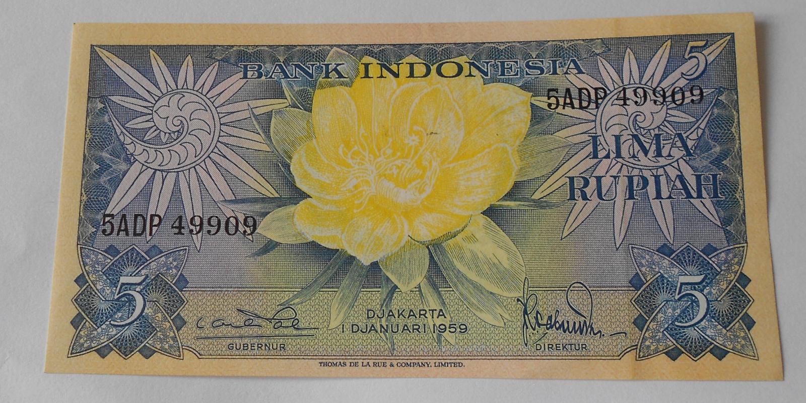 Indonésie 5 Rupie 1953