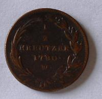 Rakousko 1/2 Krejcar 1780 W Marie Terezie stav