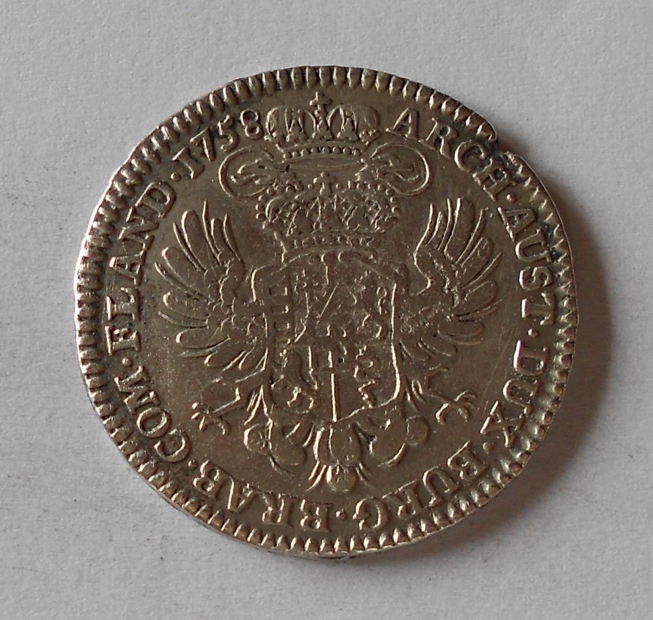 Rakousko 1/2 Tolar 1758 Marie Terezie, hrana