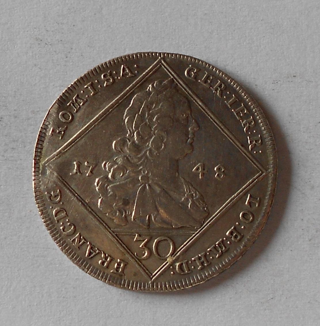 Rakousko 30 Krejcar 1748 GR František Lotrinský, spona