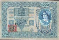 1000Kč/1902-18, kolek ČSR/, stav 2-, série 1138, šedozelený podtisk