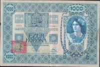 1000Kč/1902-18, kolek ČSR/, stav 3+, série 1166, šedozelený podtisk