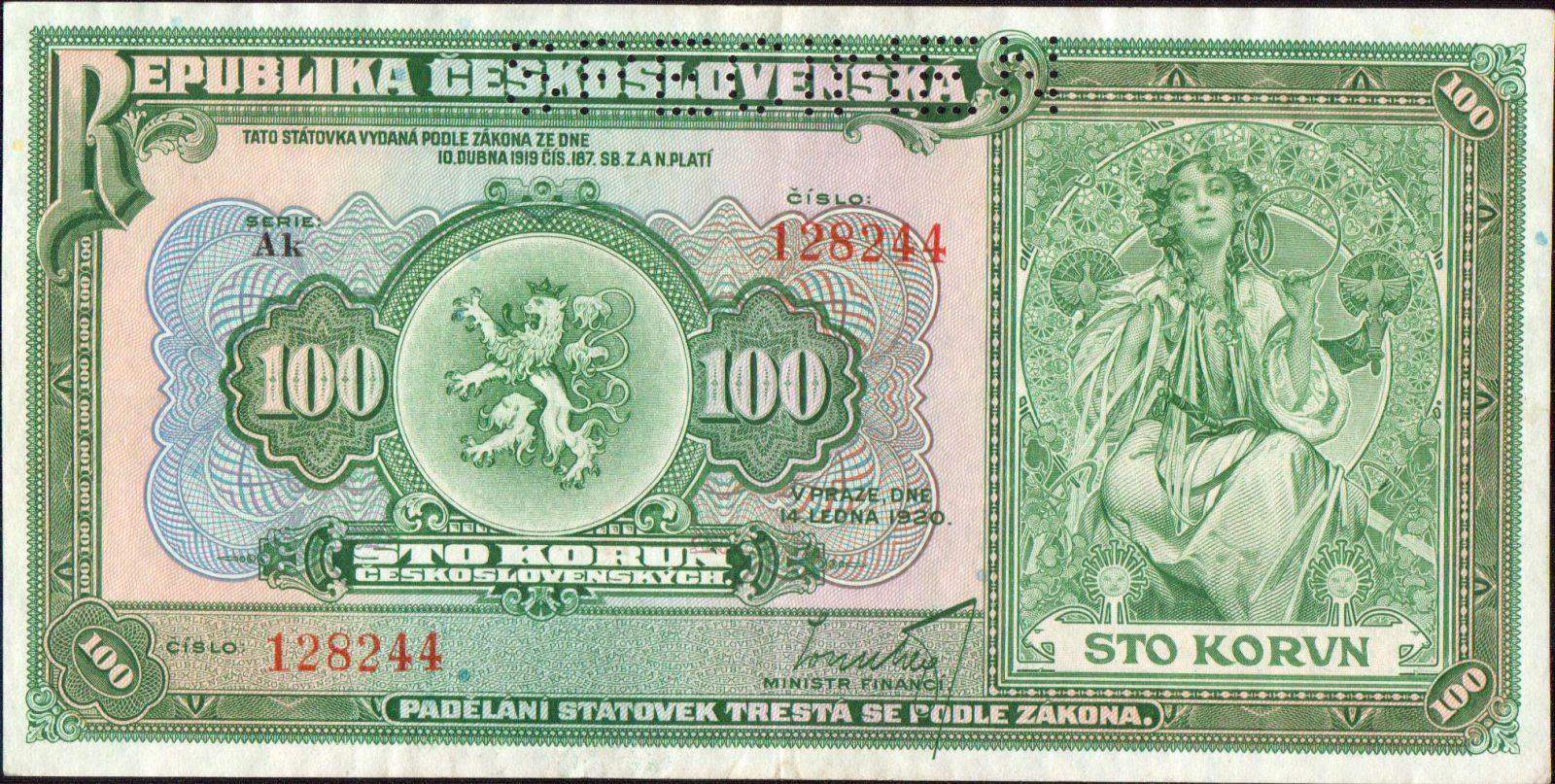 100Kč/1920/, stav 1 perf. SPECIMEN, série Ak