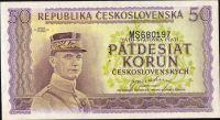 50Kčs/1945-bl/, stav UNC perf. 3md, série MS