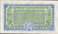 20Kčs/1945-bl/, stav 0 perf. 3md, série HV
