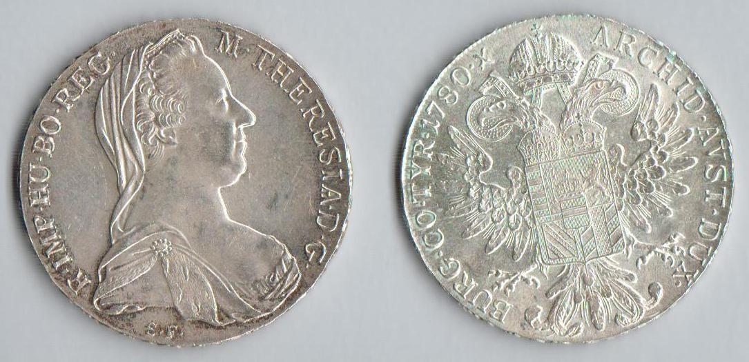 Levántský Tolar 1780 - novoražba (Ag 0,833, 28,07g)