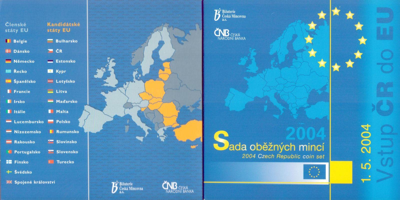 Ročníková sada oběžných mincí ČR (2004-vstup do EU), stavy 0/0