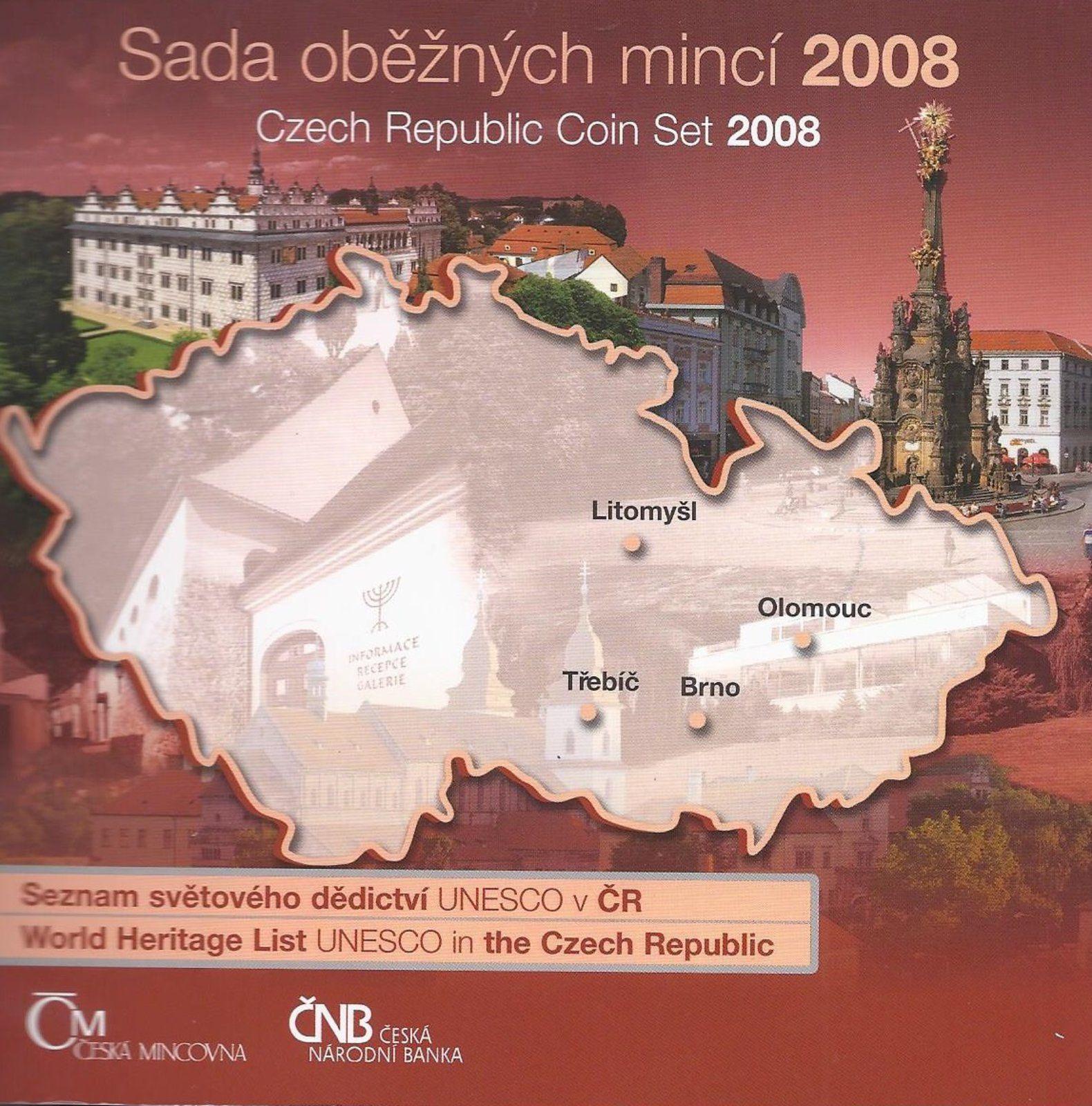 Ročníková sada oběžných mincí ČR (2008-UNESCO), stav 0/0