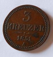 Rakousko 3 Krejcar 1851 A