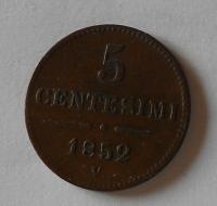 Rakousko 5 Centesimi 1852 V