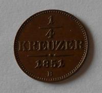 Uhry 1/4 Krejcar 1851 B stav