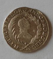 Čechy – Praha 10 Krejcar 1764 Marie Terezie vada materiálu