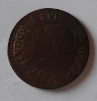 Francie 1 Sol 1791 B Ludvík XVI.