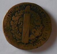 Francie 2 Sol 1791 A Ludvík XVI.