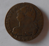 Francie 2 Sol 1792 A Ludvík XVI.