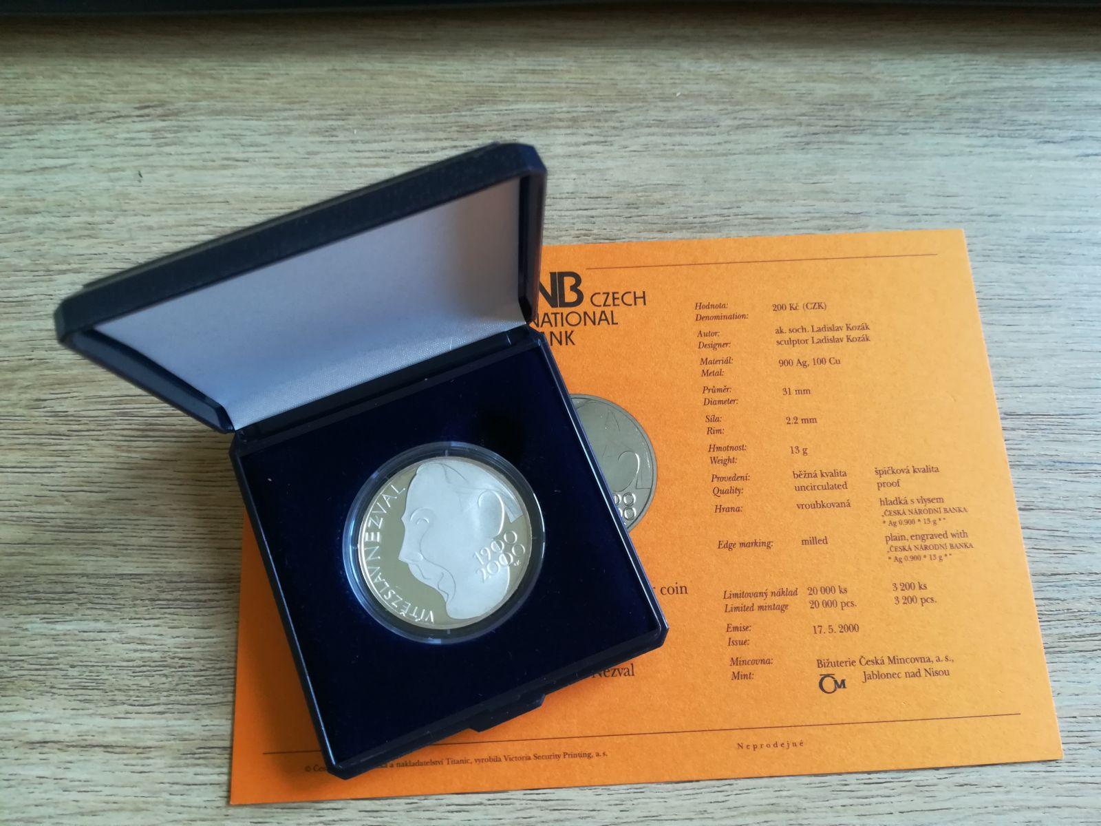 200 Kč(2000-Nezval), stav PROOF, etue a certifikát