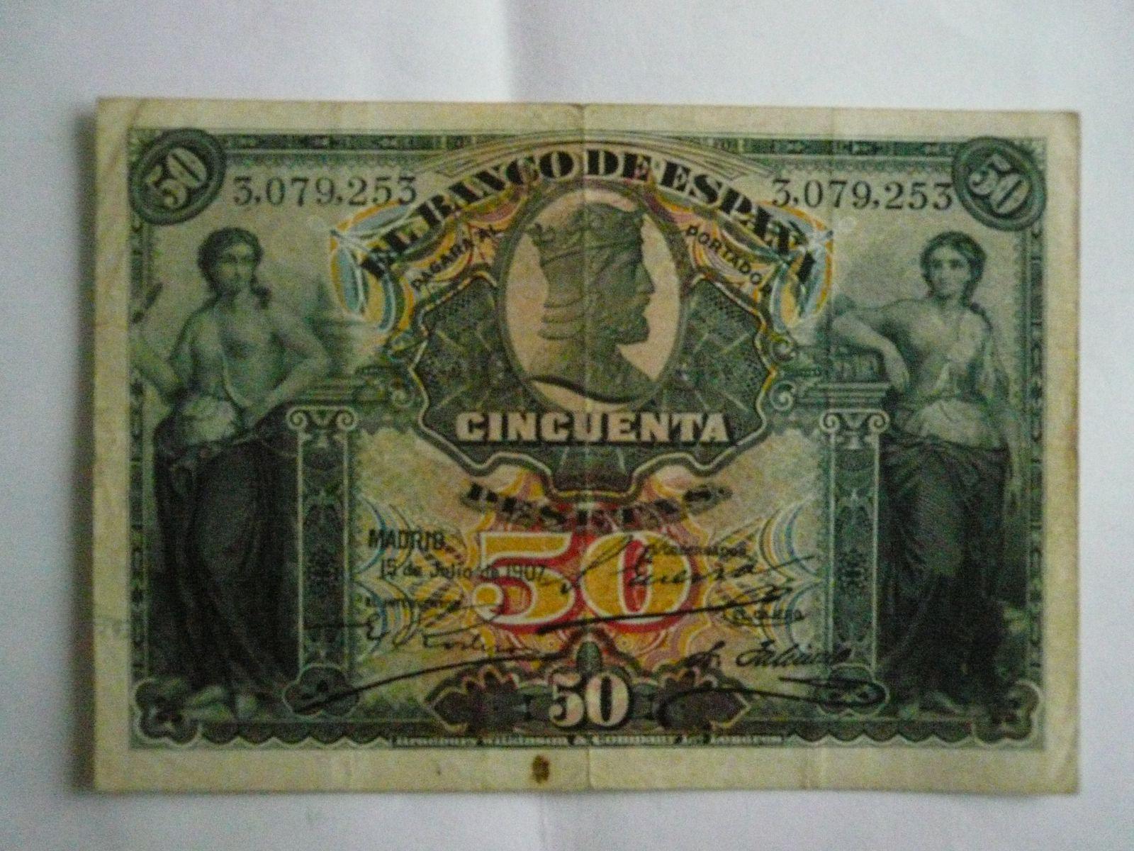 50 Peseta, Španělsko, 1907