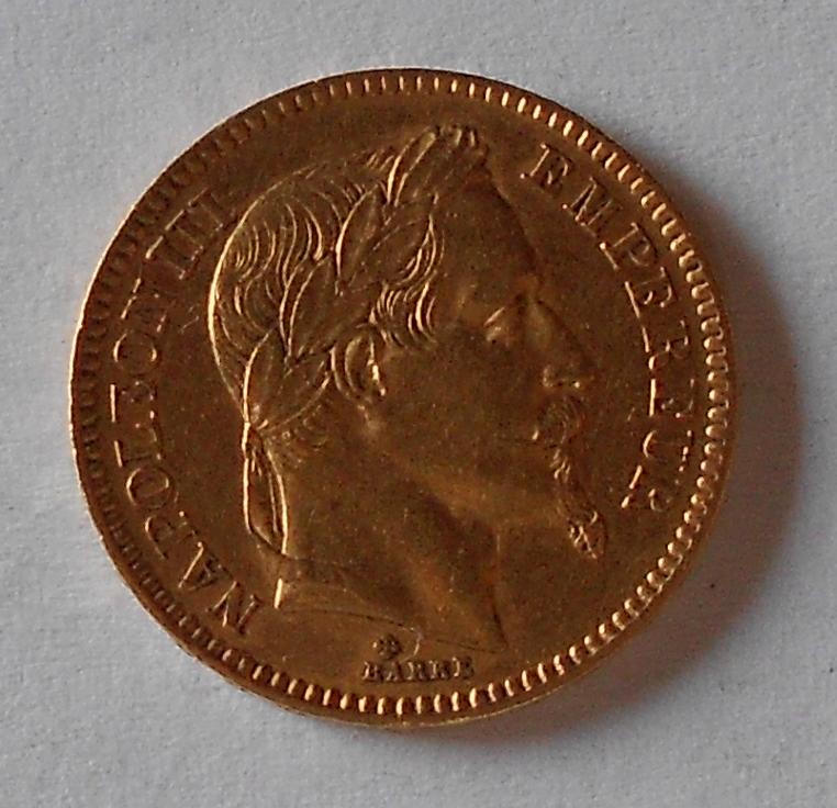 Francie 20 Frank 1865 Napoleon III.