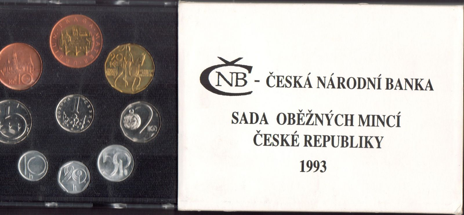 Ročníková sada oběžných mincí ČR (1993-varianta HM, RCM), stavy 0/0