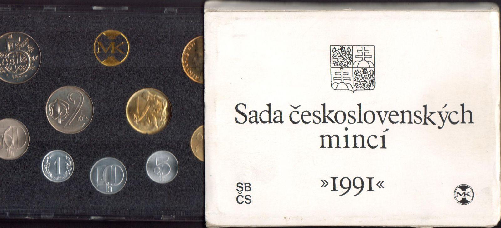 Ročníková sada oběžných mincí ČSFR (1991, s 10Kčs), stavy 0/0