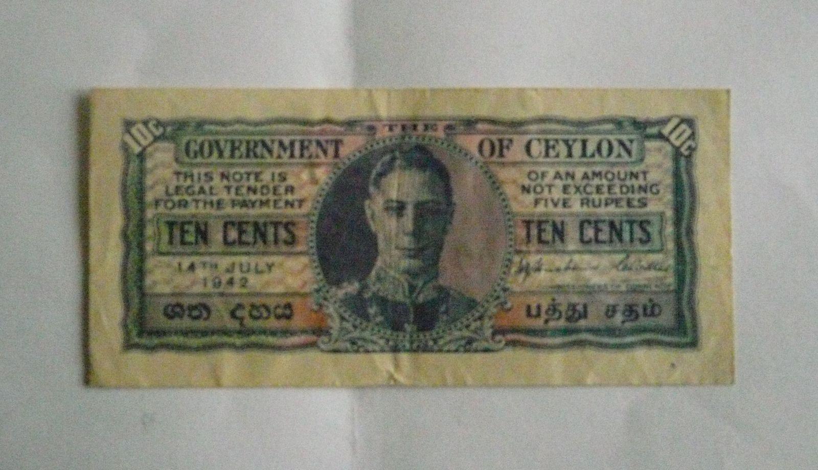 10 Cent, Ceylon, 1942