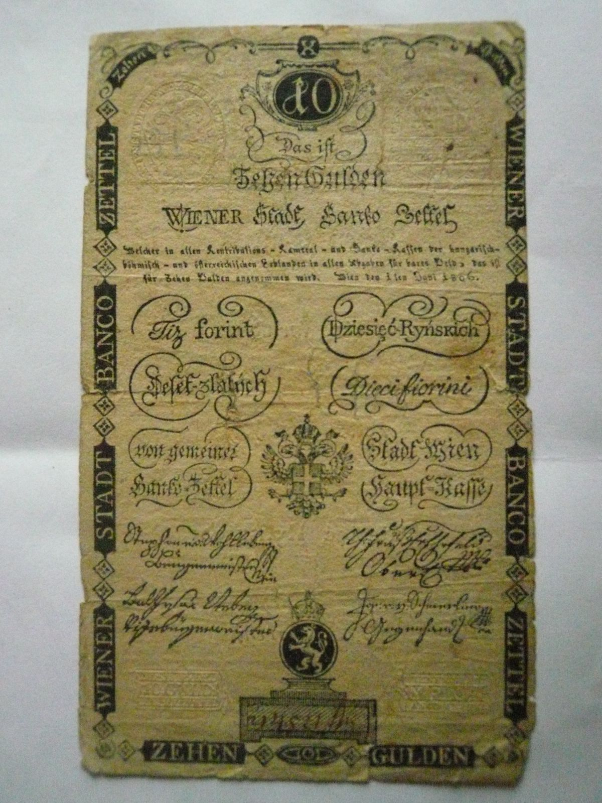 10 Gulden, Rakousko, 1806