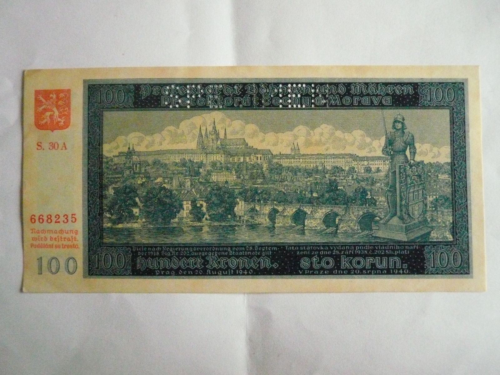 100 Kč, S.30A-perforovaná, P.Č+M, 1940