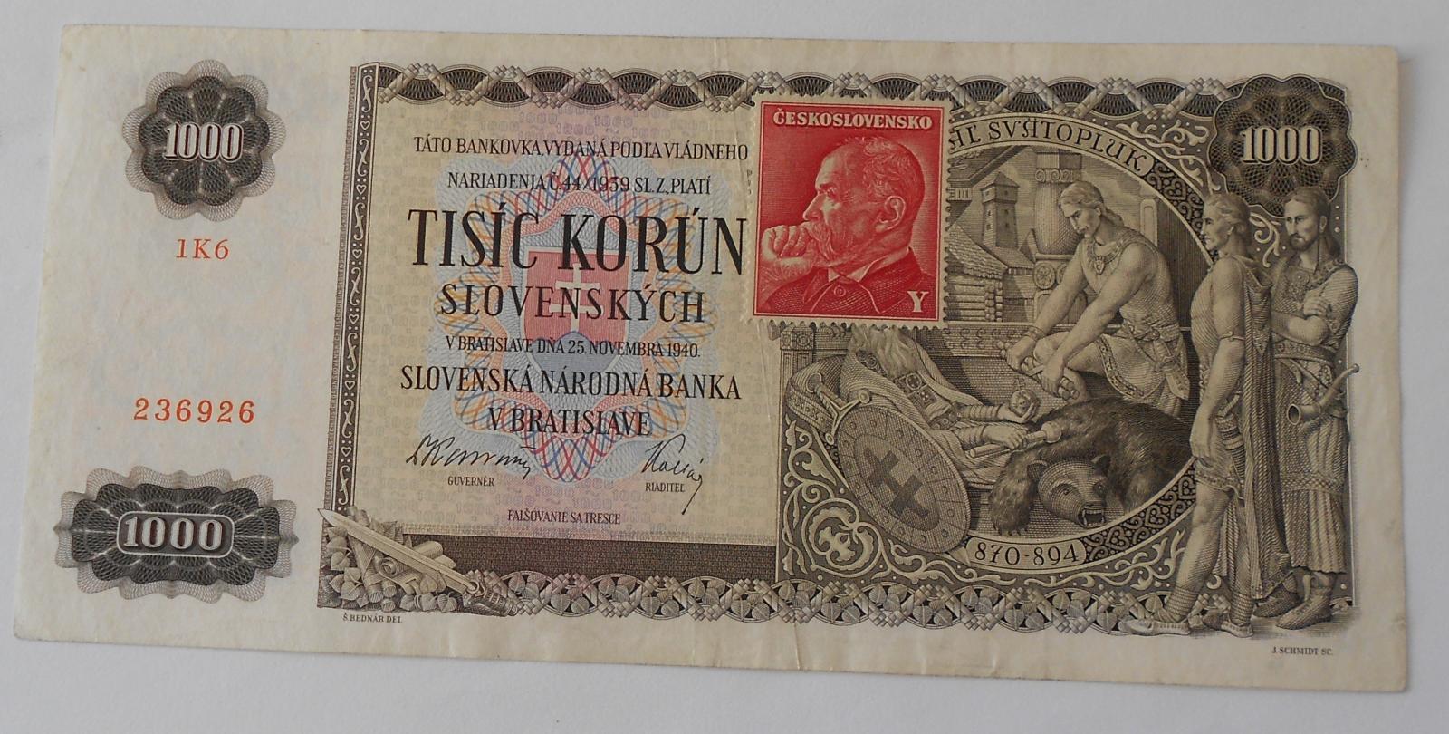 ČSR 1000 Koruna 1KG kolek 1940 Svatopluk