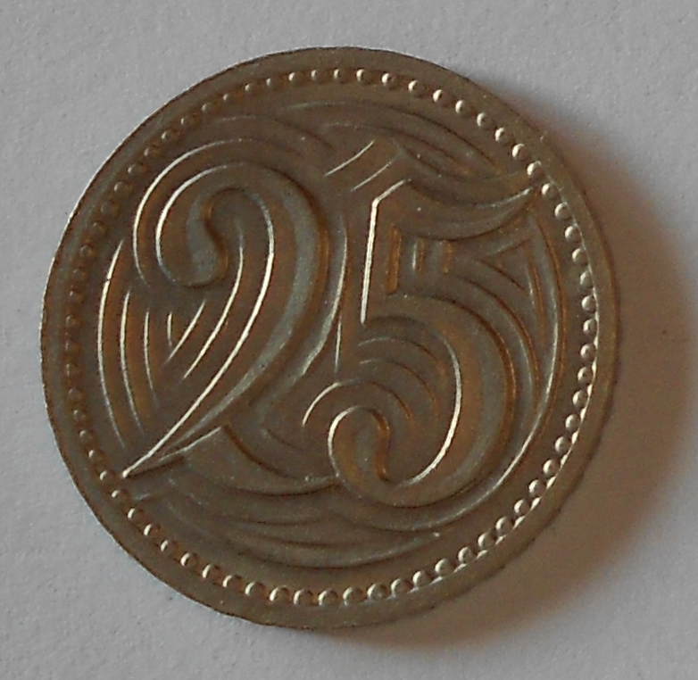 ČSR 25 Haléř 1933 stav