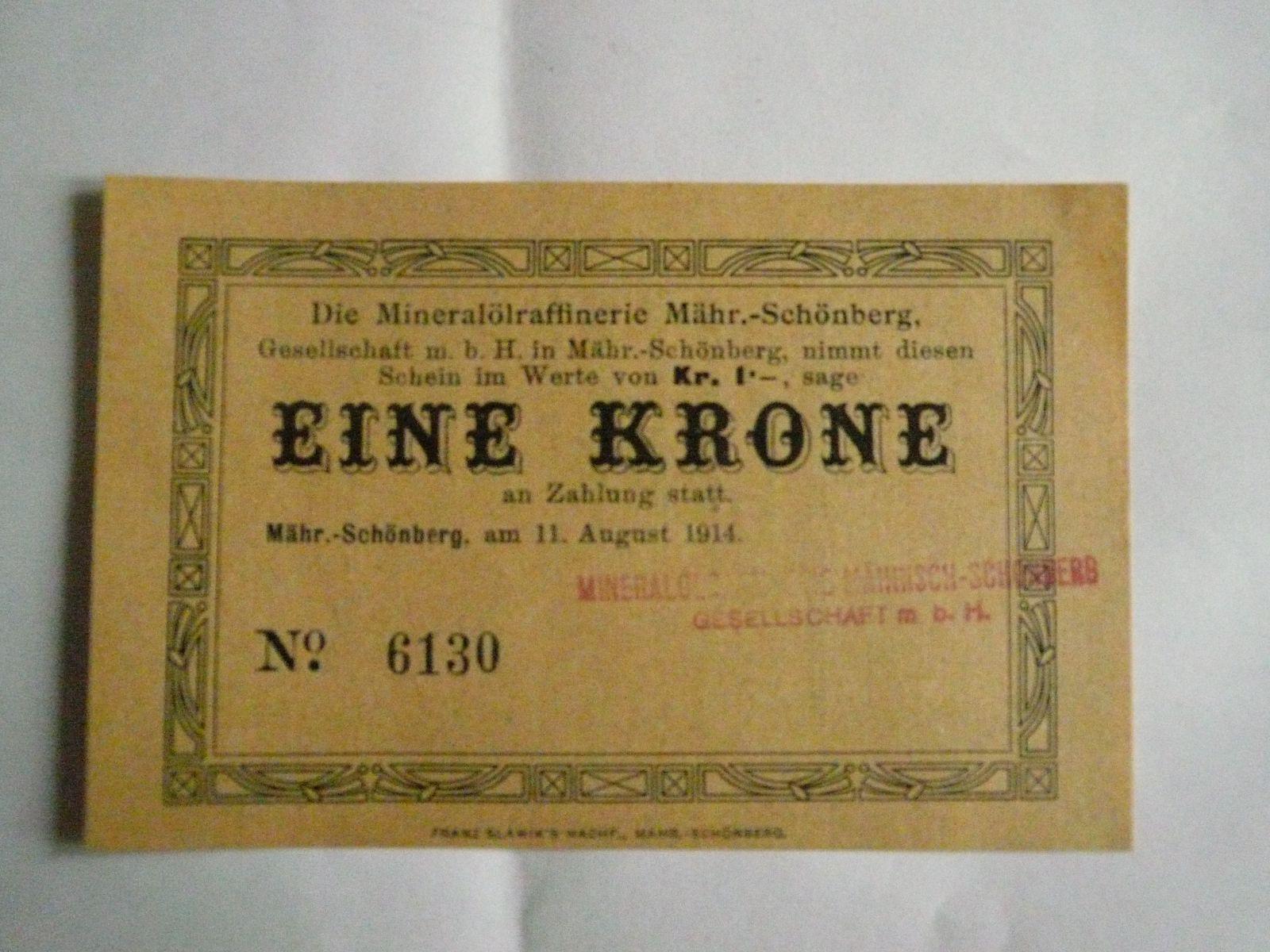 Eine Krone, ČSR-Šumperk, 1914