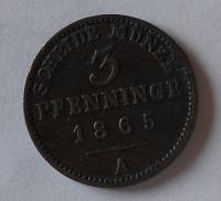 Prusko 3 Pfenik 1865 A