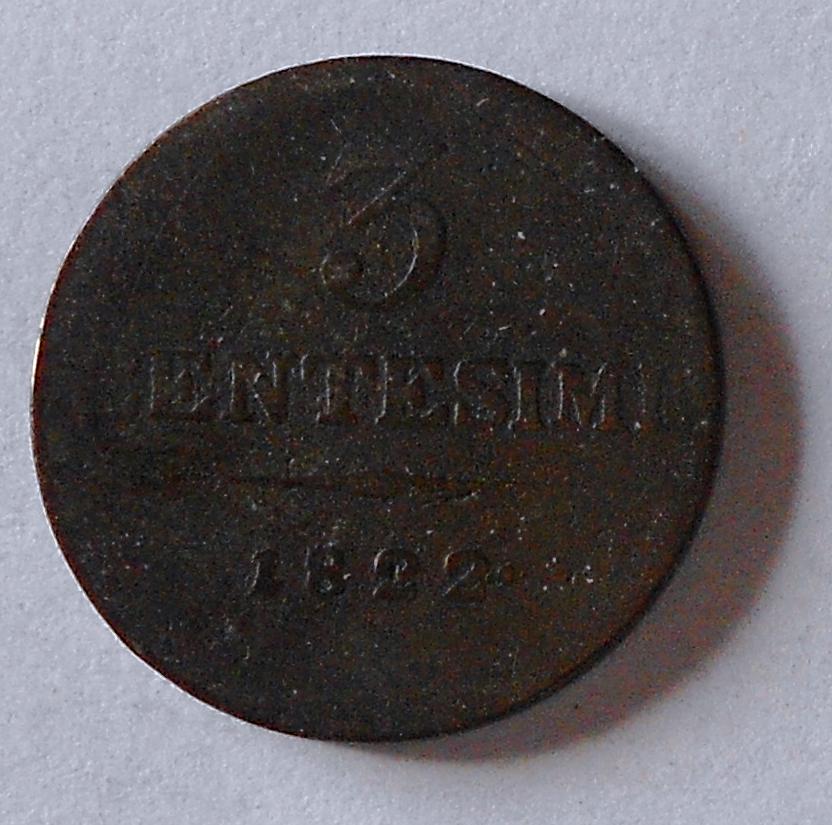 Rakousko 3 Centesimi 1822 V František II.