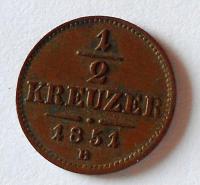 Uhry 1/2 Krejcar 1851 B