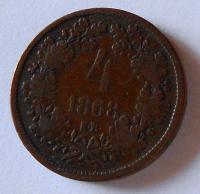 Uhry 4 Krejcar 1868 KB