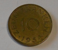 Šarsko 10 Pfenik 1954