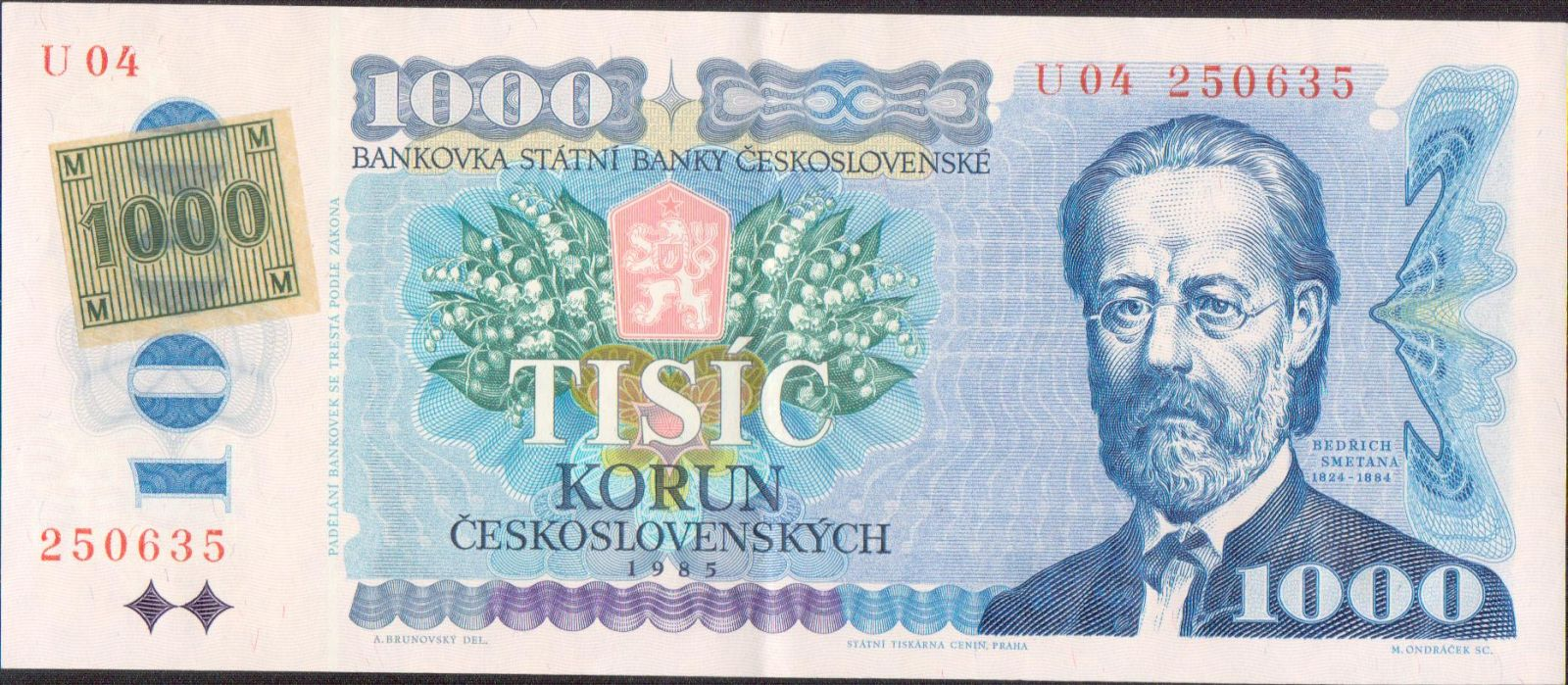 1000Kč/1985-93/, stav 1+, lepený kolek ČR 1993, série U 04