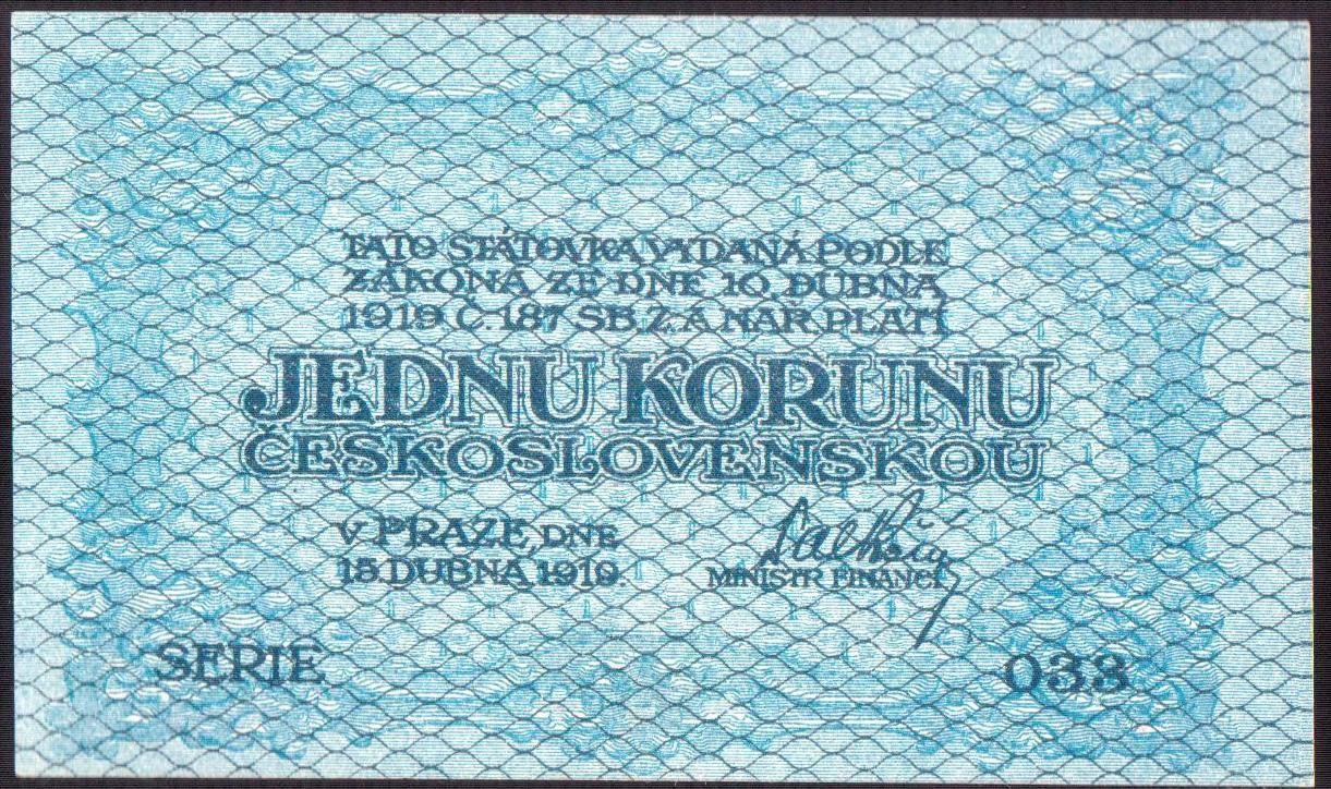 1Kč/1919/, stav UNC, série 038 - modrá