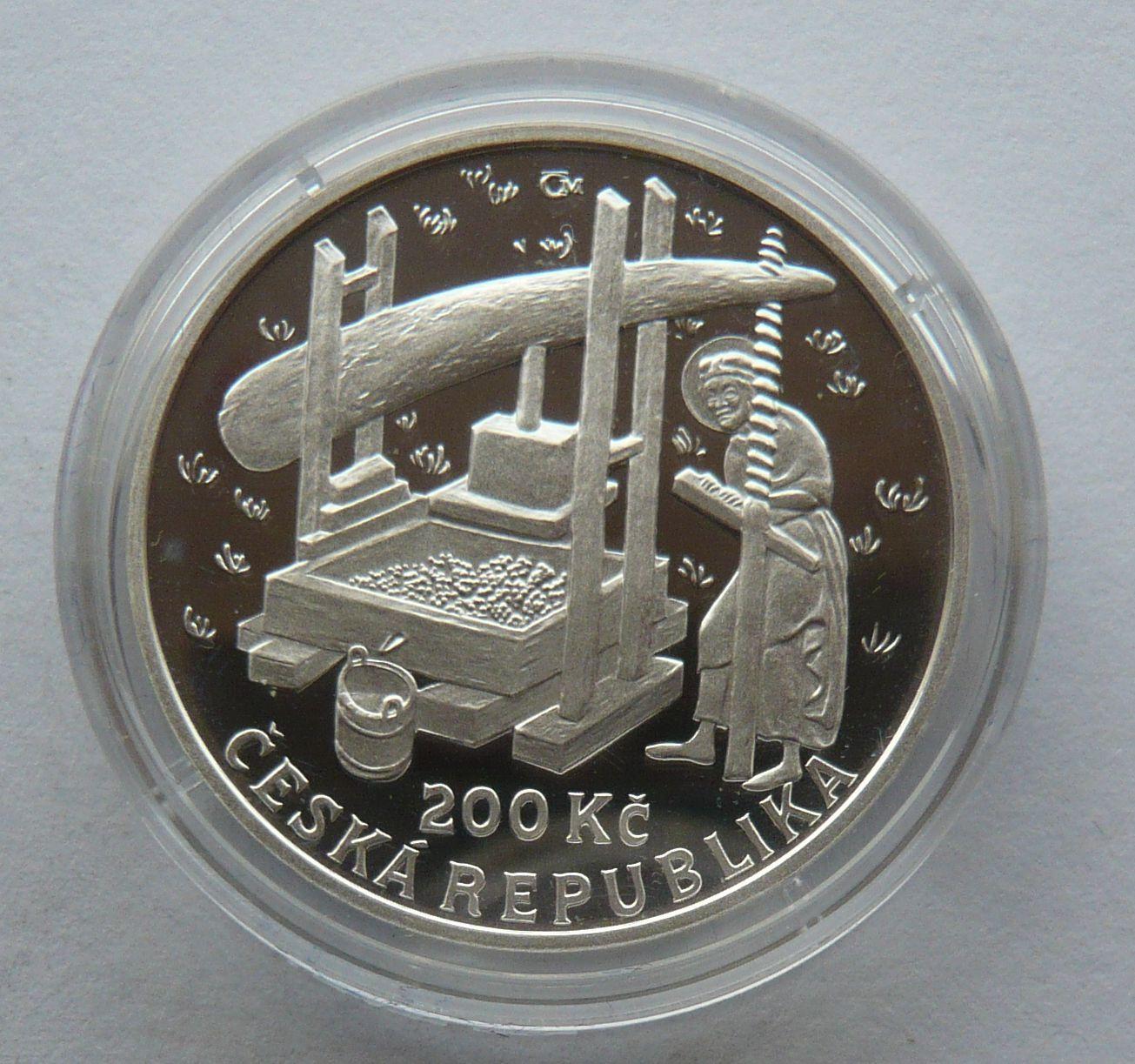 200 Kč(2008-vinice), stav PROOF, etue a certifikát