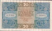20Kč/1919/, stav 0 n. a zvlněná, série U 164