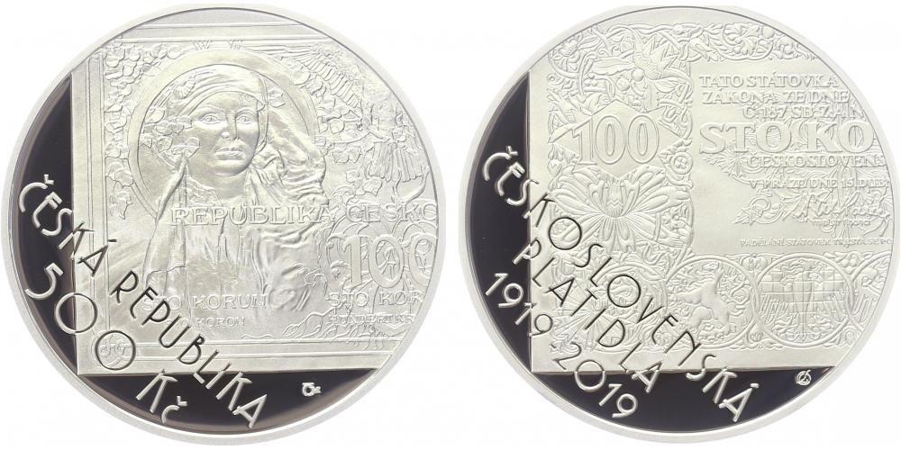 500 Kč(2019-zahájení vydávání československých platidel), stav PROOF, etue a certifikát